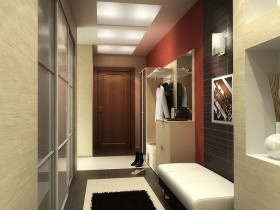 A long hallway in the apartment of modern style