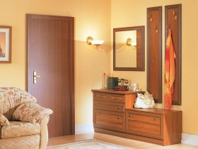 Hall peach shade with wooden furniture