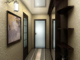 Narrow modern hallway with embossed Wallpaper