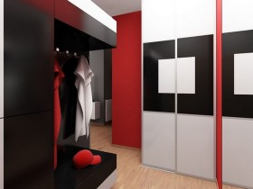 Modern living room in red, white and black colors
