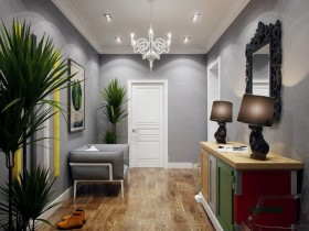 Hallway gray with white ceiling
