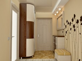 Small modern hallway with painted wall