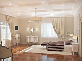 Проект большой светлой спальни в классическом стиле