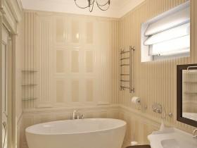 Маленькая светлая ванная комната в классическом стиле
