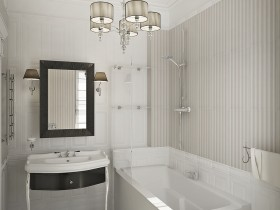 The draft white bathroom in classic style