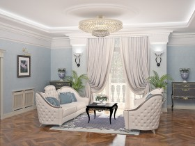 White sofas in classic living room