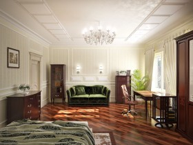 Bright bedroom with dark parquet floors in the style of classicism