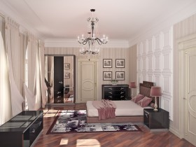 Bedroom interior in the style of classicism