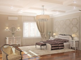 The project of the classic bedrooms in the cottage