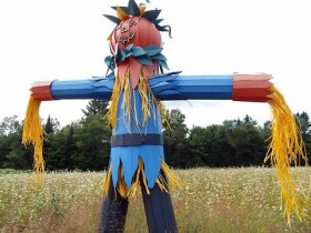 The colorful design of the scarecrows