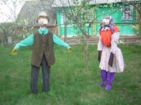 Two scarecrows in the country
