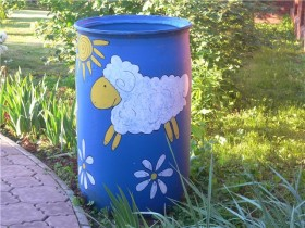 Blue painted barrel