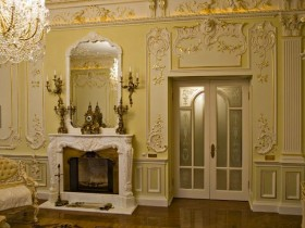 A fireplace in the Rococo style