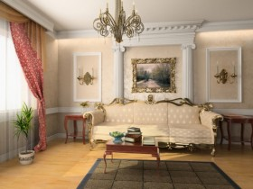 Living room interior in Rococo style