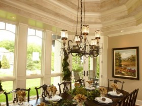 Dining room design in the Romanesque style