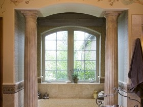 The bathroom in the Romanesque style
