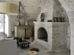 The fireplace in the Romanesque style