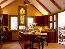 The kitchen is in the Romanesque style