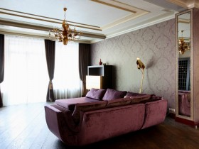 Interior luxurious living room with purple sofa