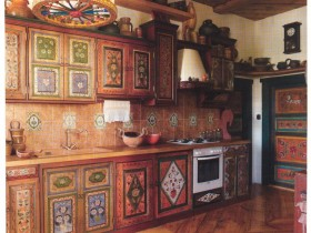 Kitchen interior in traditional Russian style