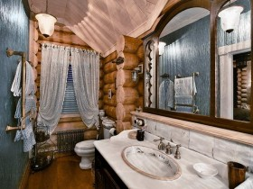 Bathroom with frame in Russian style