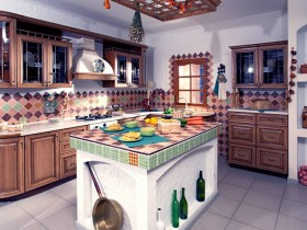 Interesting kitchen design in the Russian style