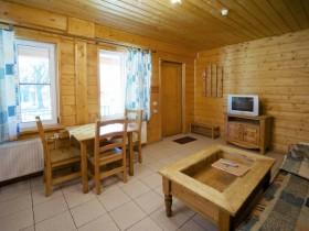Вітальня кімната в будинку з профільованого бруса, російський стиль