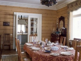 The interior of a private house in the Russian style