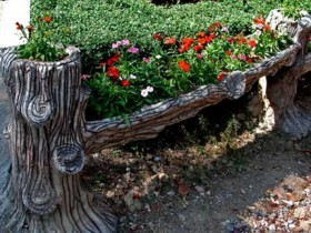 Old tree as flower beds