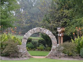 Garden arch made of natural stone