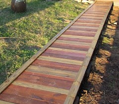 Garden path of wood flooring