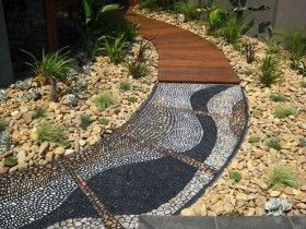 Path in a garden of mosaic and wood