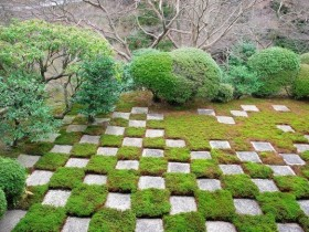 The idea of paving garden concrete slabs
