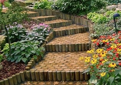 Оригинальный дизайн садовой лестницы