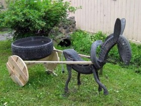 Garden figurine of old tires