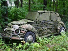 Old car from stones