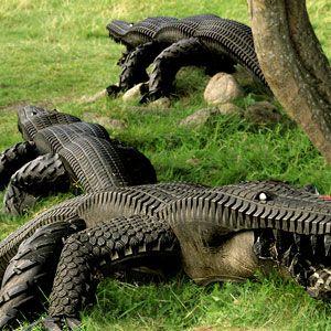 Крокодил из покрышек своими руками