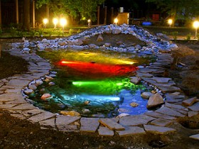 Underwater lights in the pond