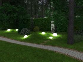 Glowing orbs in the garden