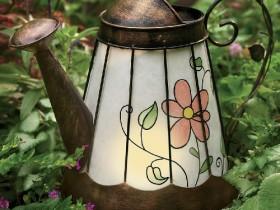 A garden lamp from a teapot