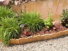 Garden border made of planks