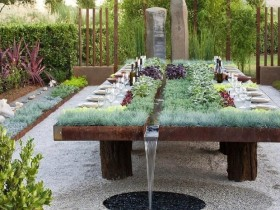 Unusual idea of a garden fountain