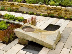 Garden fountain made of natural stone