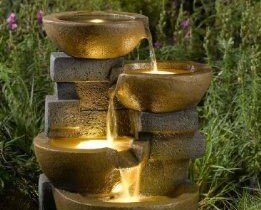 Garden fountain with lights