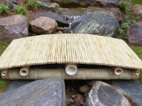 Garden bridge made of bamboo