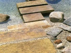Stone garden bridge