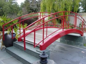 Garden bridge, metal and wood
