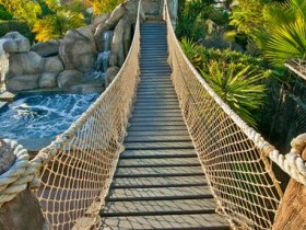 Wooden bridge in a landscape design