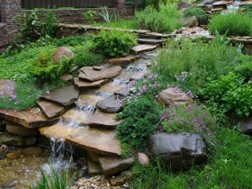 Artificial stream at the summer cottage