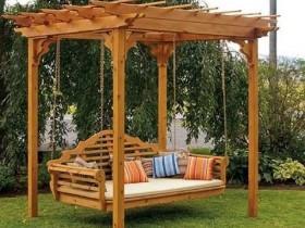 Garden swing with pergola